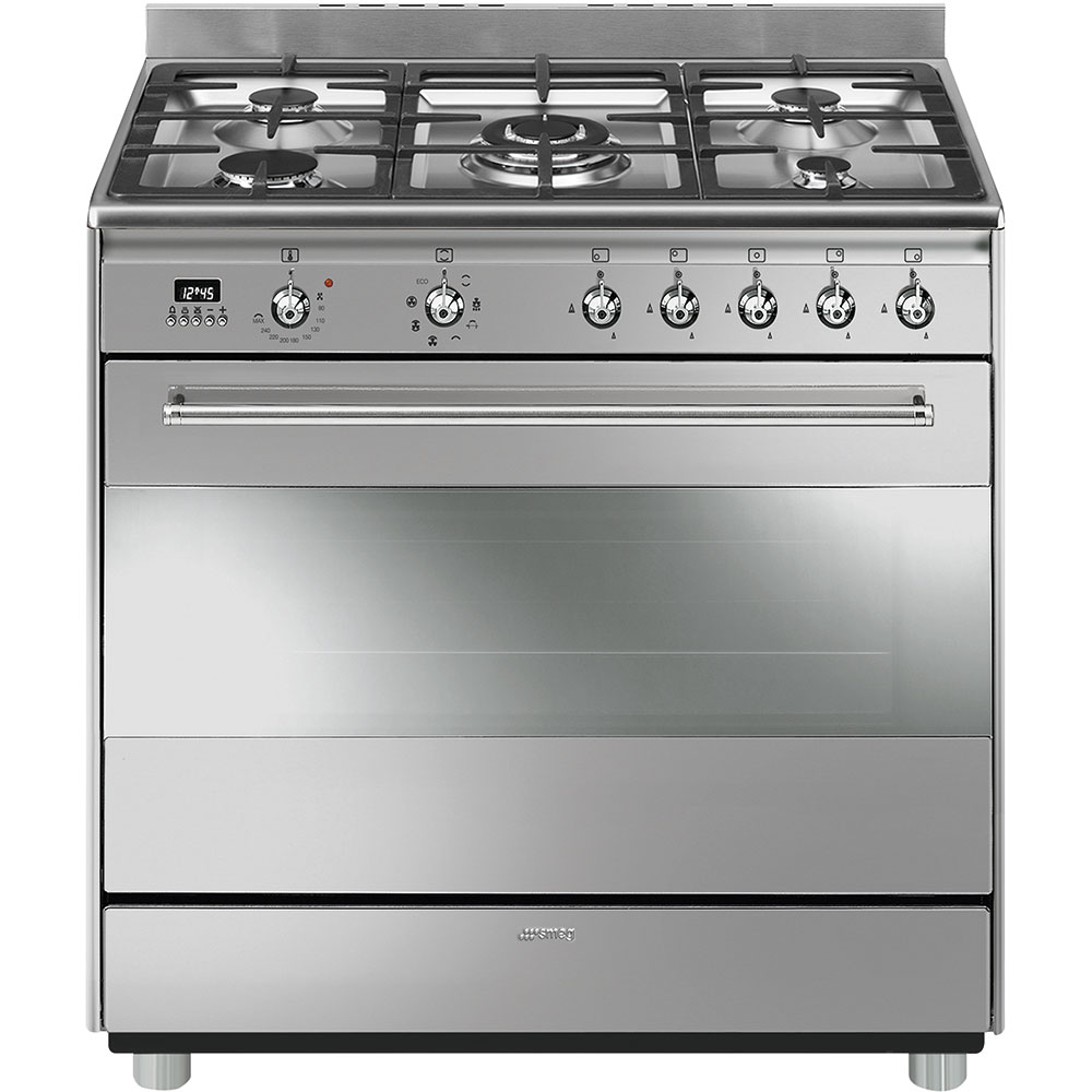 STOVE SMEG FIVE GAS BURNER ELECTRIC OVEN STAINLESS STEEL – SSA91MAX9