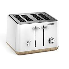 TOASTER MORPHY RICHARDS FOUR SLICE 1800W STAINLESS STEEL WHITE WITH WOOD TRIM – 240005